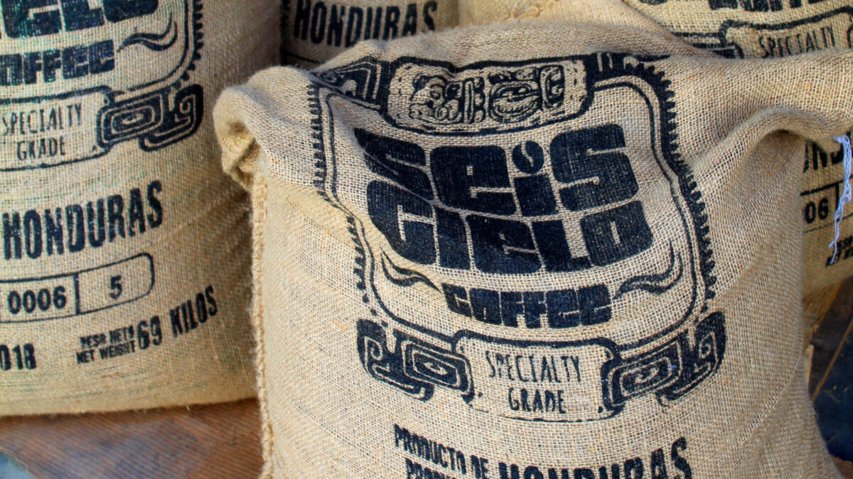 Sesi Cielo coffee beans in a sack